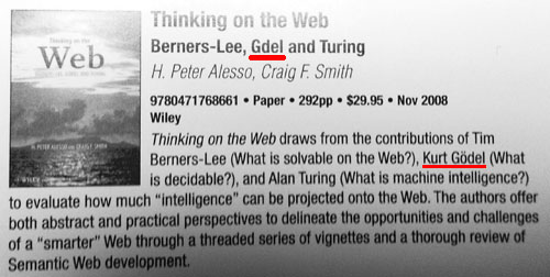 Advertisement for Thinking on the Web: Berners-Lee, Gödel and Turing