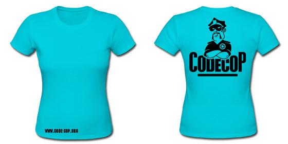 Reversed Cyan Code Cop T-shirt